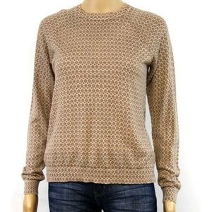 LOFT Women's Sweater Pullover Tan Polka Dot